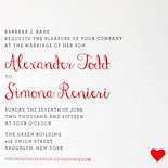Alexander and Simona: sweet red hearts adorn the shimmery silver liner and invite