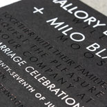 Mallory and Milo: tone on tone look with black foil on black paper. Highlights in white foil. Finished with a black envelope with a map liner.