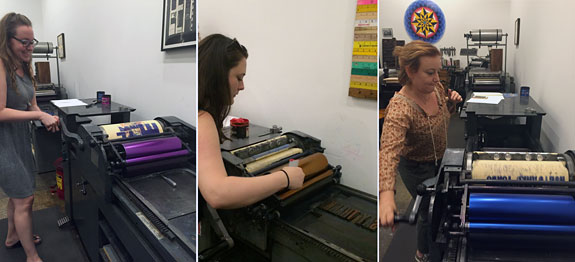 Everyone working the letterpresses