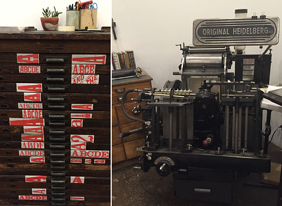 A Heidelberg Letterpress and type cabinet
