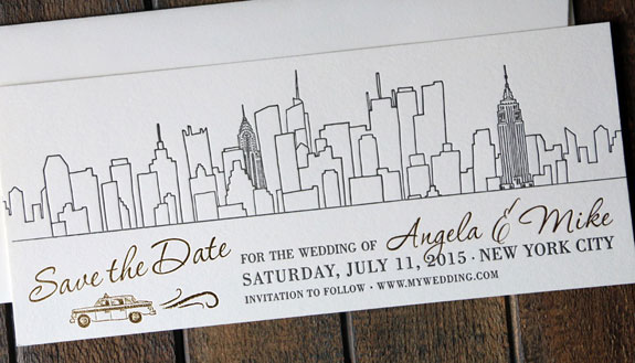 Angela and Mike: save the date featuring a NYC skyline and classic taxi custom illustration, letterpress in black ink with gold foil