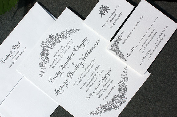 Emily and Richard: a lovely garland frames this one color letterpress invitation
