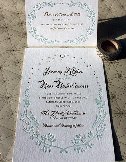 Jenny and Ben: gold foil and floral letterpress design