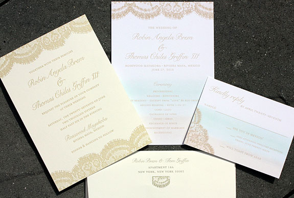 Robin and Thomas: a glorious take on our Sutton Place suite from PostScript Brooklyn incorporating an ombré wash on the digital pieces to compliment the letterpress invitation