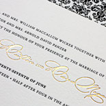 Amy and Dara: this recipe for elegance includes damask liner, black letterpress and gold foil