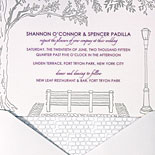 Shannon and Spencer: tree shaded park bench and lamppost illustration makes this a perfect invitation for this Fort Tryon Park wedding