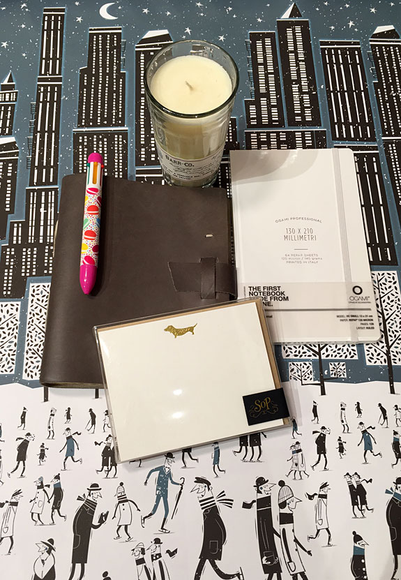 Holiday gifts: Journals, notecards, a pen and candle
