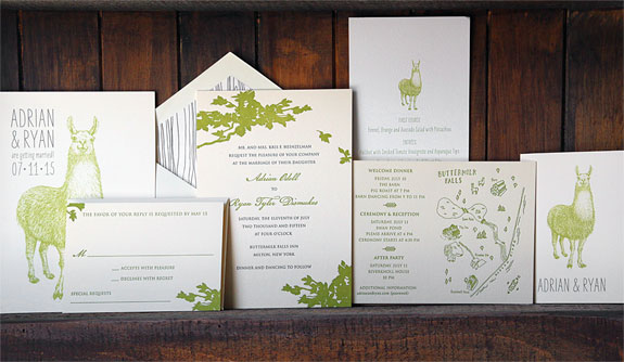 Adrian and Ryan: 2 color letterpress invitation with green branches, llamas, custom illustration map and liner