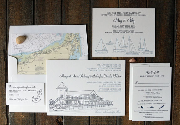 Margaret and Schuyler:  a nautical themed 2 color letterpress wedding invtiation featuring Cape Cod map liner and venue and sailboat illustrations
