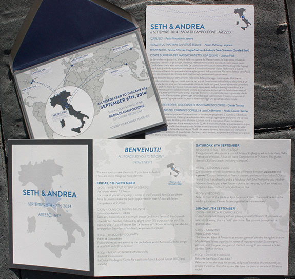 Seth and Andrea: custom international destination wedding invitation and program featuring maps.  All pieces 2 sided and dual language.