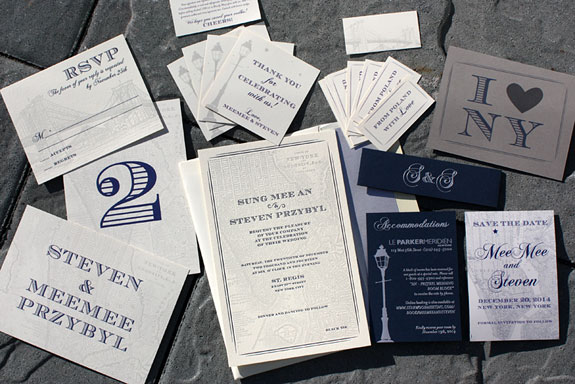 Mee Mee and Steven: a soup to nuts New York map wedding suite incuding a custom foil stamped belly band, custom map, letterpressed invitation,, digitally printed table numbers, place cards, favor tags and a magnet save the date