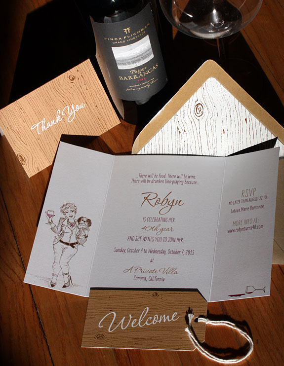 Robyn: custom illustrated wine-themed 40th birthday invitation with a Brooklyn brownstone opening its doors