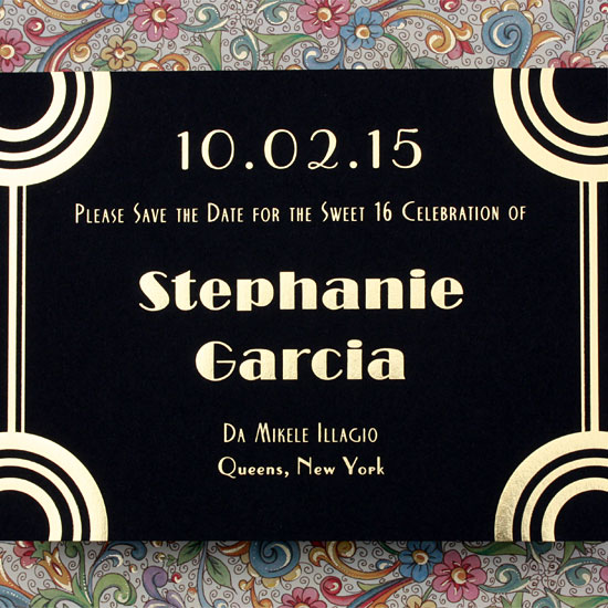 Stephanie: art deco Sweet 16 Save the Date with gold foil