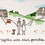 Juliette and Otto: delightful hand drawn illustration of wedding couple in rural setting with their dog