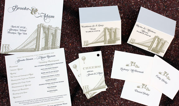 Brooke and Adam: wedding day stationery from our Vinegar Hill suite from the PostScript Brooklyn collection includes place cards, gift tags, table numbers, program, etc.