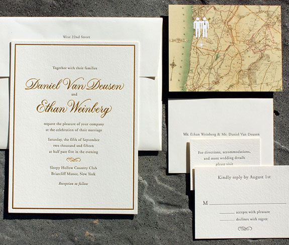 Daniel and Ethan: letterpress and gold foil with digital map save the date. Same sex wedding invitation.