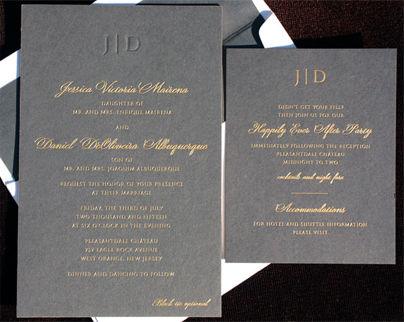 Jessica and Daniel: matte gold foil on 3 ply charcoal paper with gold edging and a blind debossed monogram