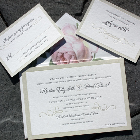 Kristen and Paul: wedding invitation letterpressed on bamboo paper with vintage floral envelope liner and calligraphy font, printed by Smock