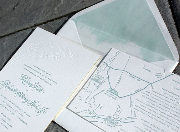 Lindsay and Randall: a floral design and ombre envelope liner evoke the Long Island beach setting for this wedding. The invitation also features gold foil edging, hand calligraphy and a custom illustrated map.