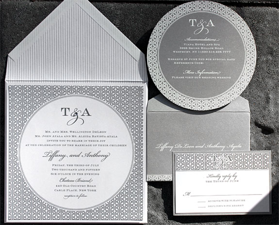 Tiffany and Anthony: double layered invitation with shimmer paper, metallic silver and crystal embellishment