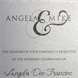Angela and Mike: invitation with glitter ink, charcoal thermography on shimmer metallic paper and illustrated NYC skyline. Urban and sophisticated.