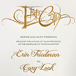 Erin and Cory: letterpress and gold foil wedding invitation with custom hand calligraphy monogram combining Chinese and Hebrew characters