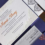 Mansi and Vinay: Indian wedding invitation featuring pocket fold, multiple patterns, copper foil, and letterpress in raspberry, persimmon, pale grey and blue