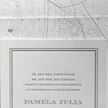 Pamela and Bradley: pewter letterpress invitation with custom Brooklyn map liner and elegant borders