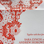 Sara and Andrew: Mexican tile design letterpress printed on cotton paper. Tropical, summery, floral.