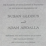 Susan and Adam: charcoal letterpress on pewter card stock