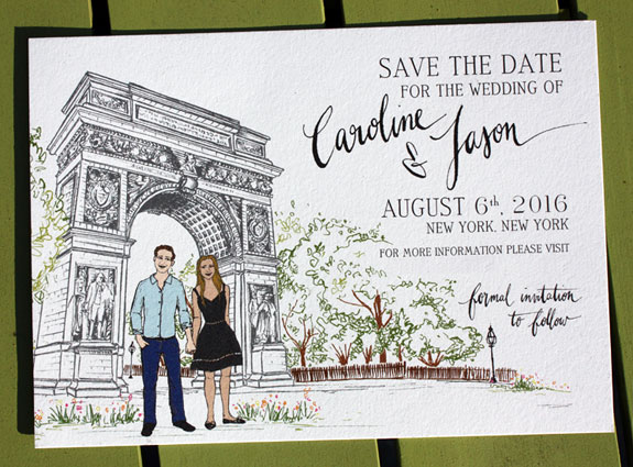 Caroline and Jason: save the date with custom illustration of couple in Washington Square Park