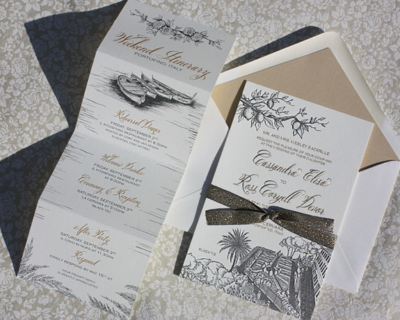 Cassandra and Ross: lovely Italy destination wedding invitation with custom illustration of location and floral motifs and foldout weekend activity card
