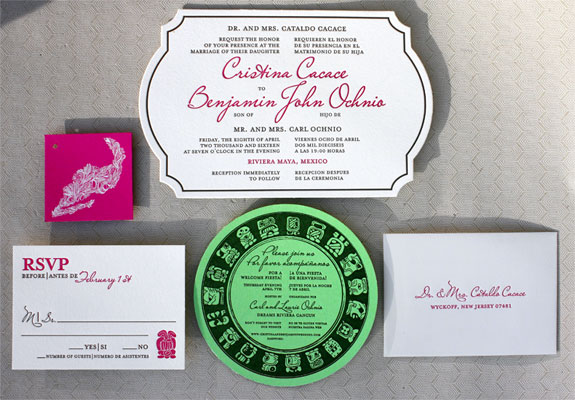 Cristina and Benjamin: dual language destination wedding invitation extravaganza! A fuchsia tag with white ink Mexico illustration, Mayan images, a die cut letterpress invitation all tied with a glittery baker's twine