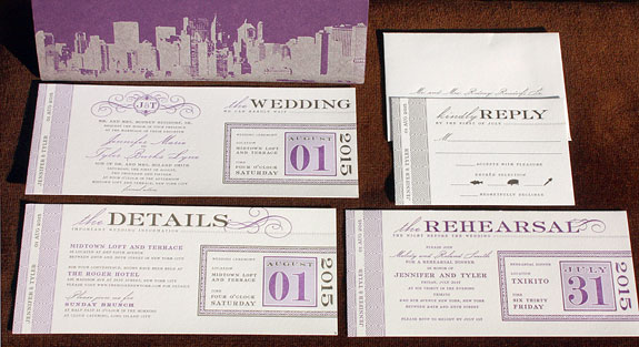 Jennifer and Tyler: a letterpress ticket-themed invitation with calligraphic flourishes is tucked into a destination-stamped pocket folder with a New York skyline