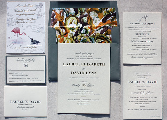 Laurel and David: custom designed by one of our consultants for her own wedding. Features the bride's calligraphy and the groom's painting.