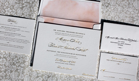 Megan and Robert: elegant gold foil stamped wedding invitation with peach watercolor liner