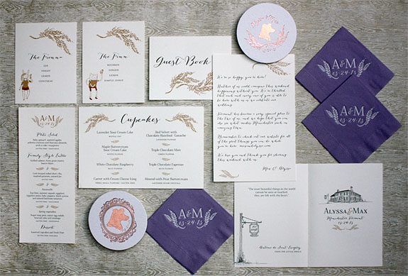 Alyssa and Max: wedding day items include digitally printed programs, signs, menus, foil napkins, coasters and gift bags. Original artwork by Victoria Neiman Illustration.
