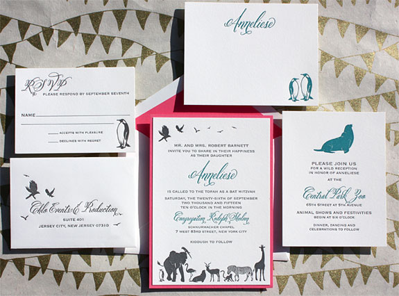 Anneliese: Central Park Zoo themed Bat Mitzvah invitation in 2 color letterpress with reveal backer and custom animal illustrations