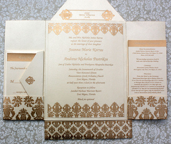 Joanna and Andrew: damask, pearlized custom pocket fold wedding invitation