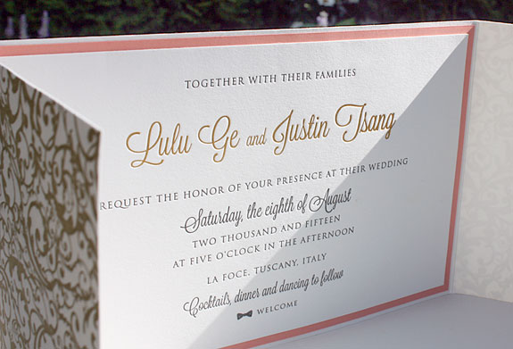 Lulu and Justin: gatefold invitation wtih reveal layer, gold foil and charcoal letterpress and custom wax seal using save the date monogram