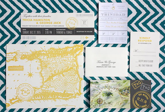 "Tricia and George: destination wedding invitation based on the theme of travel. ""Boarding Pass"" invitation, letterpressed map on pocket folder and magnetic ""Ticket"" save the date."