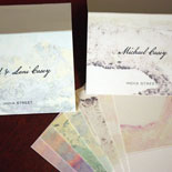 Summer and Andrew: place cards created from custom artwork