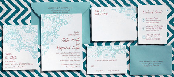 Riviera Maya: a lively floral wedding invitation that was inspired by a Mexican tile pattern