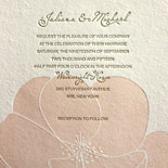 Juliana and Michael: 2 color letterpress wedding invitation with lovely floral design on handmade paper with custom map liner and digitally printed reception signs