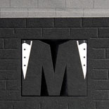 Mark and Michael: a New York City subway and Broadway themed wedding invitation and wedding day pieces featuring custom tuxedo monogram, foil, subway map design and subway tile background make this same sex wedding invite a fun, sharp original