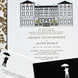 Megan and Javier: Palace Hotel wedding invitation with custom illustration by Victoria Neiman Illustration with gold foil, letterpress and digitally printed accompanying pieces