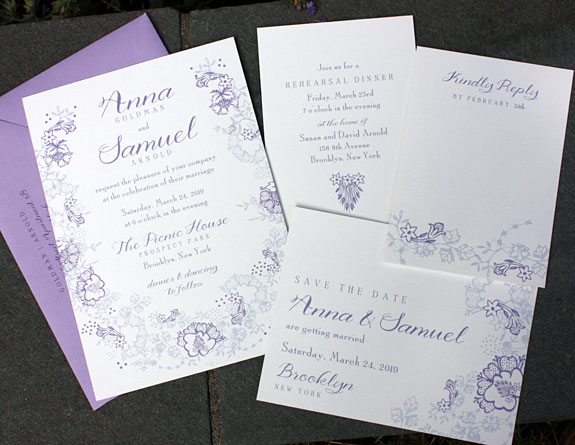 Botanic Garden-floral wedding invitation from PostScript Brooklyn
