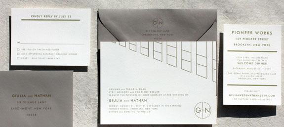 Pioneer Street-modern wedding invitation from PostScript Brooklyn