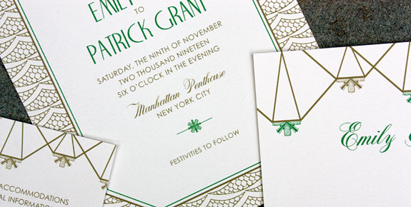 Step into the past with this fresh spin on the exuberant Art Deco era. The jewel-toned palette and ornate patterns of this invitation bring to mind the dance halls of the 1920s, while also incorporating a geometric design that take us into the 21st Century. This suite is for the couple who wants a new take on the vintage Deco trend. Shown here digitally printed on white paper in matte gold and kelly green ink.