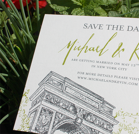 Waveryly Place from PostScript Brookyn-Washington Square Park themed wedding invitation